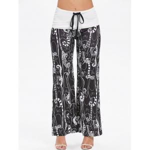 Cartoon Cat Print Drawstring Wide Leg Pants -