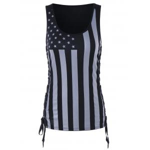 American Flag Criss Cross Side Tank Top -