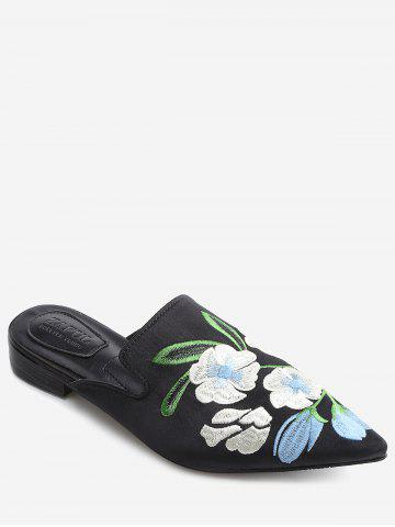 Unique Pointed Toe Flower Embroidery Mules Shoes