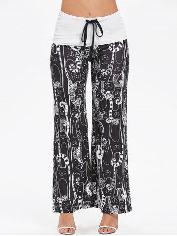 Cartoon Cat Print Drawstring Wide Leg Pants