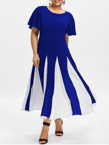 Affordable Plus Size Two Tone Flare Dress