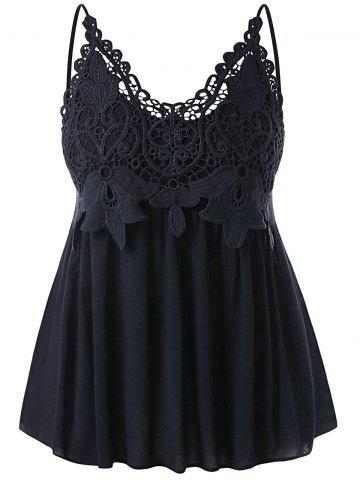 Plus Size Cutwork Lace Trim Smocked Tank Top