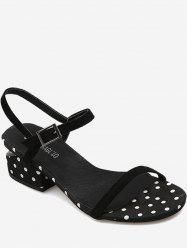 Chunky Cut Out Heel Polka Dot Slingback Sandals -