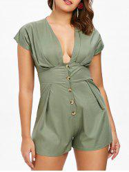 Empire Waist Button Embellished Romper -