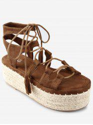 Platform Espadrille Heel Lace Up Sandals -