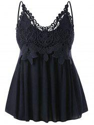 Plus Size Cutwork Lace Trim Smocked Tank Top -