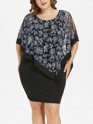 Plus Size Floral Capelet Bodycon Dress -