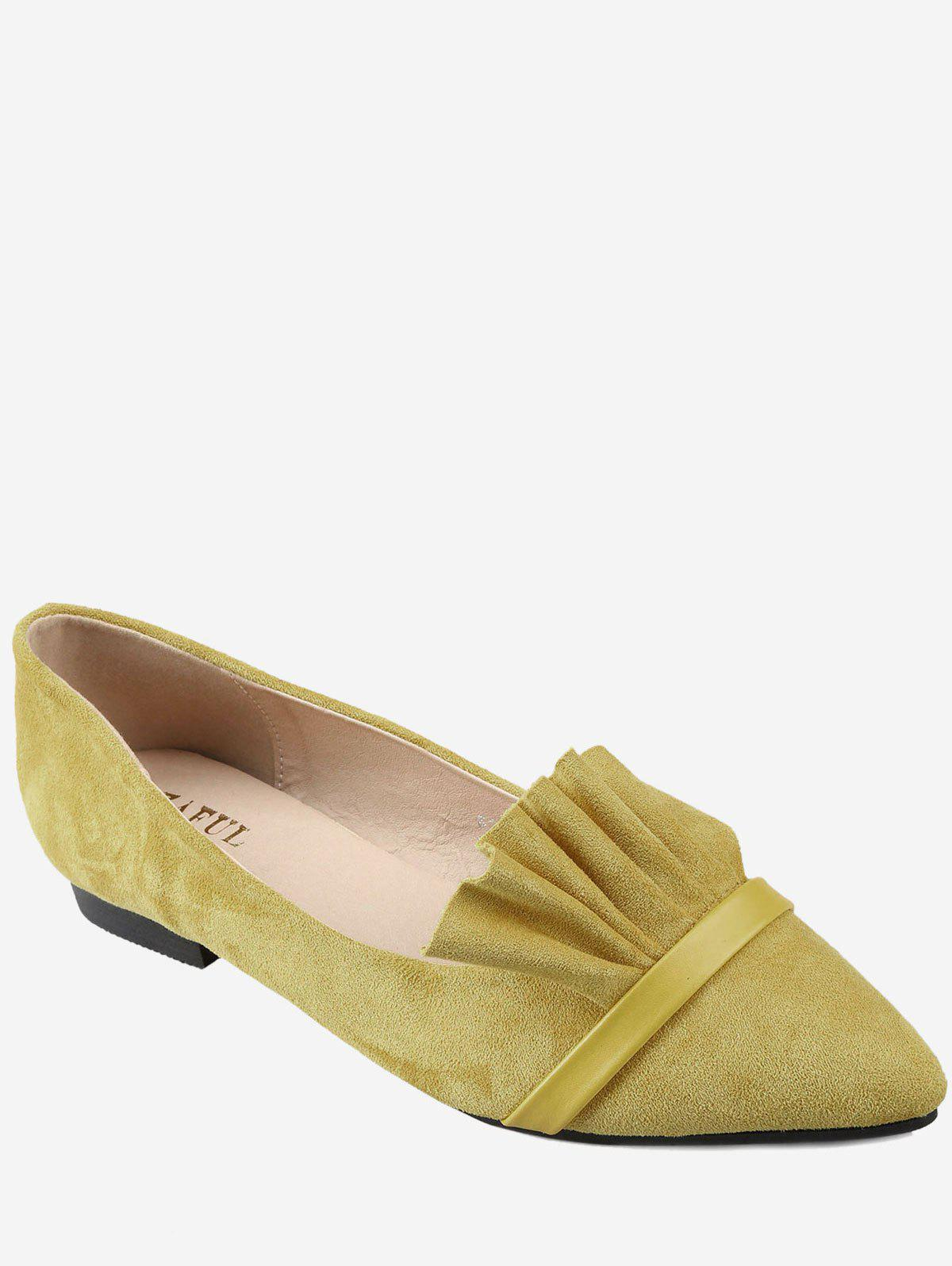 Chic Chic Slip On Ruffles Pointed Toe Flats