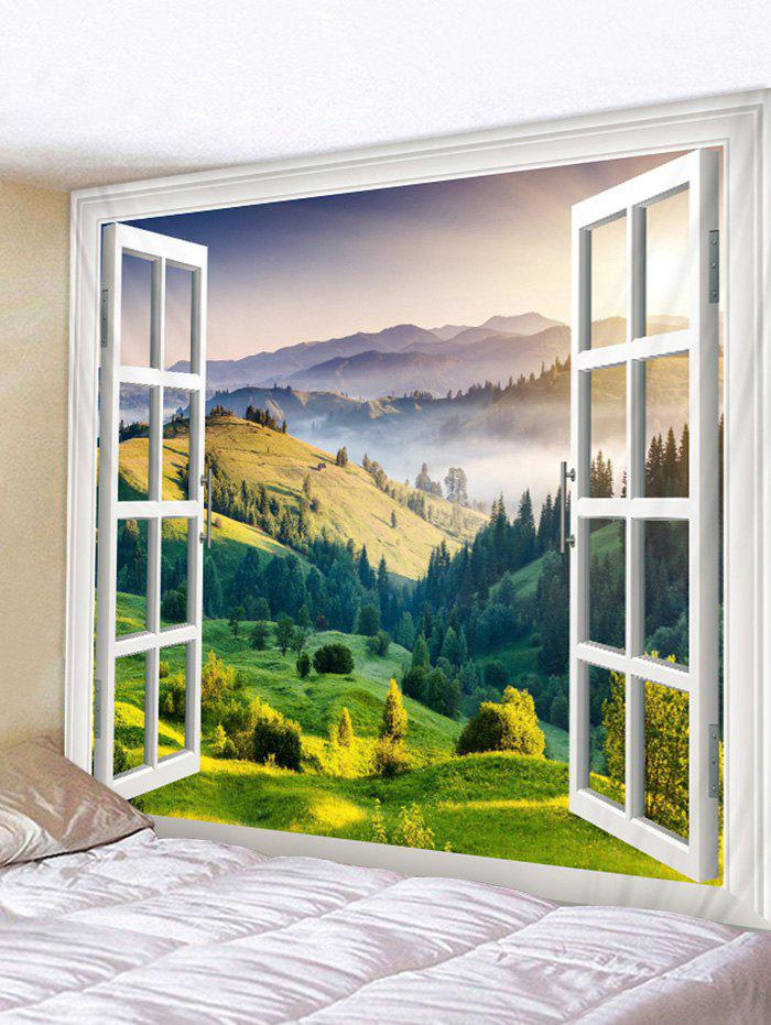 Grass Land outside Window Print Wall Tapestry
