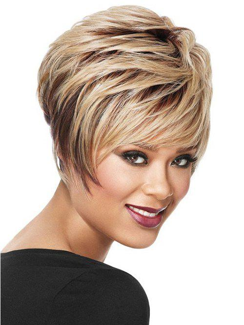 Chic Short Side Bang Layered Straight Colormix Synthetic Wig