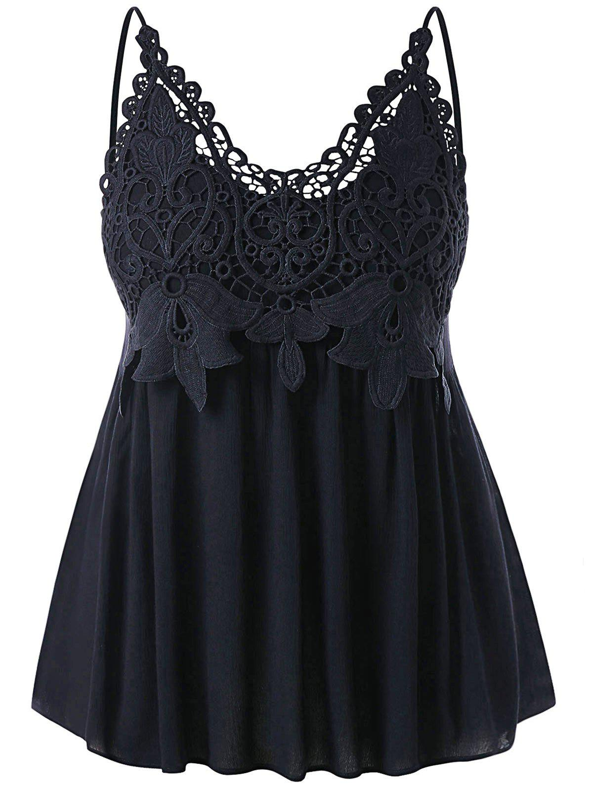 Online Plus Size Cutwork Lace Trim Smocked Tank Top