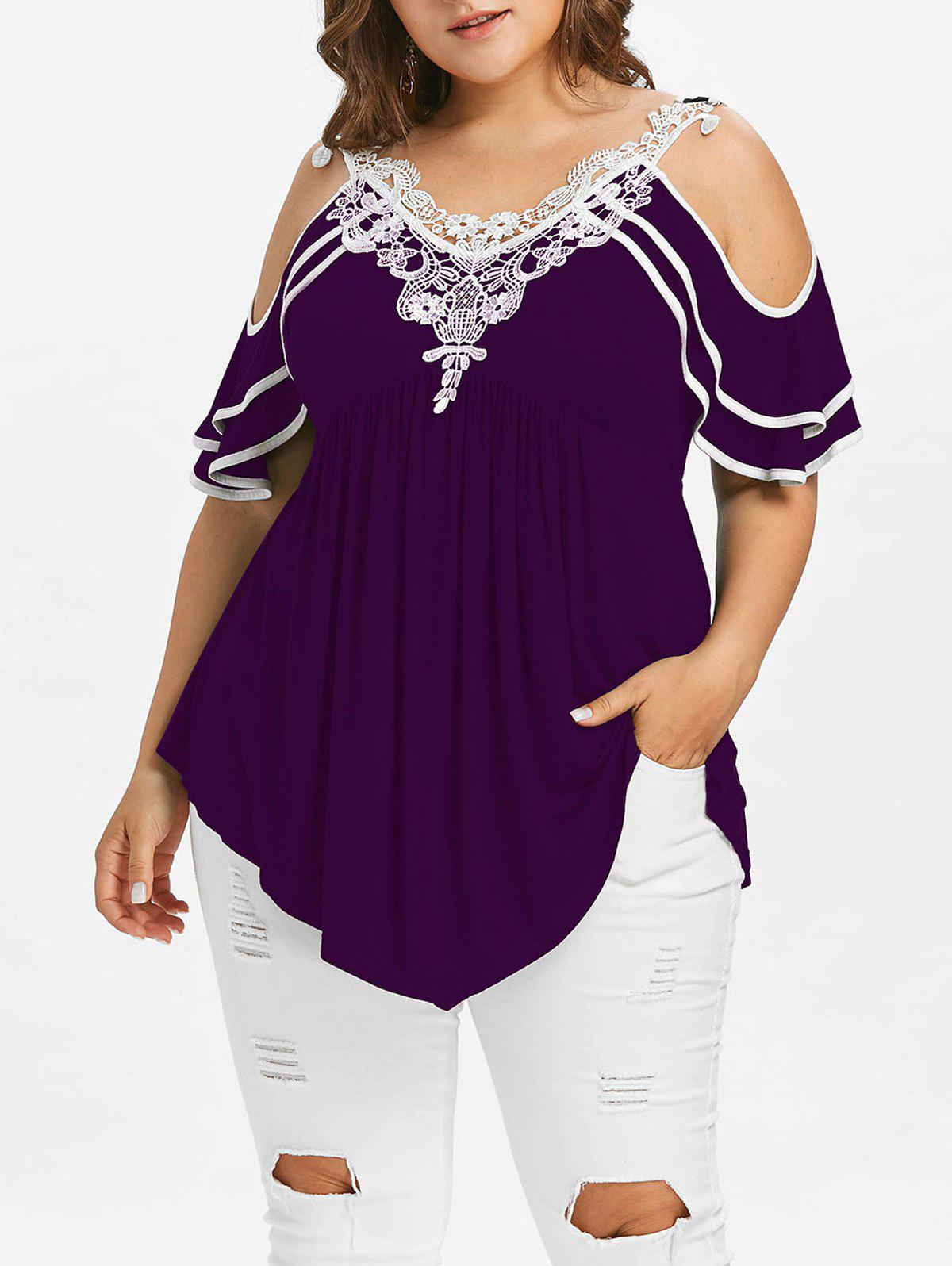 Cheap Plus Size Tiered Sleeve Cold Shoulder T-shirt