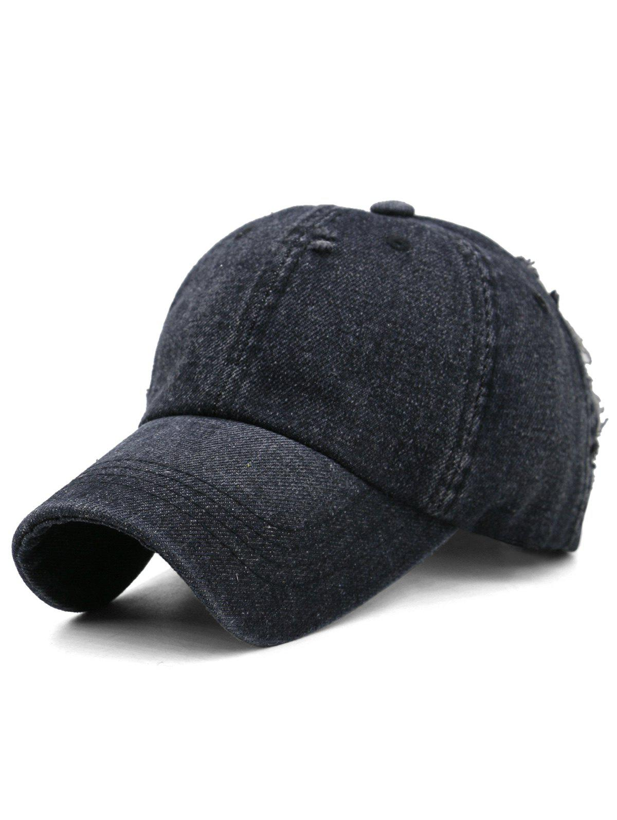 Trendy Outdoor Solid Color Washed Dyed Denim Baseball Hat
