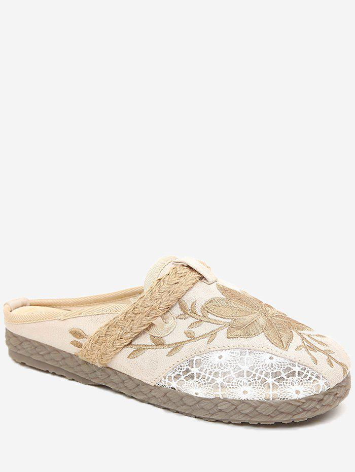 Affordable Low Heel Leisure Espadrille Flower Embroidery Slides