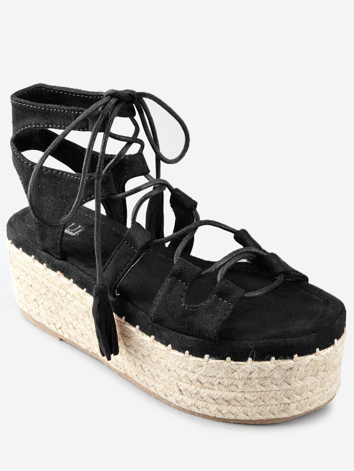 Cheap Platform Espadrille Heel Lace Up Sandals