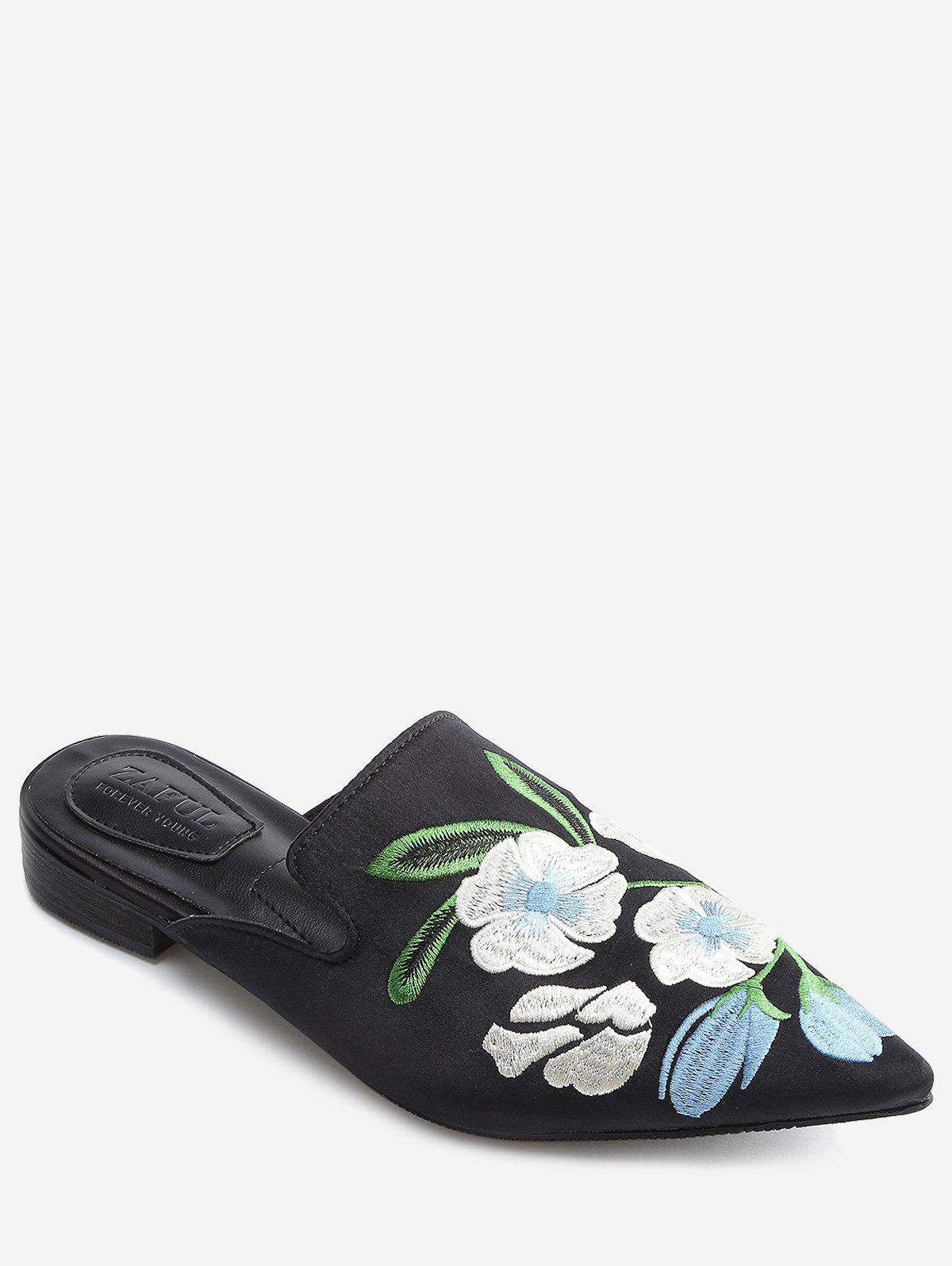 Latest Pointed Toe Flower Embroidery Mules Shoes
