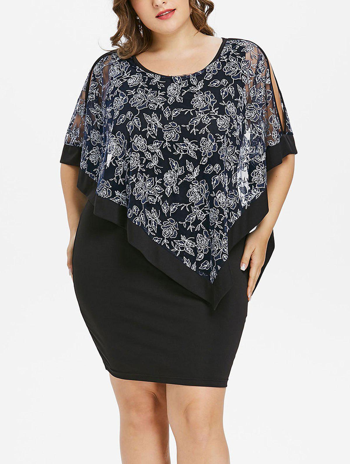 Latest Plus Size Floral Capelet Bodycon Dress