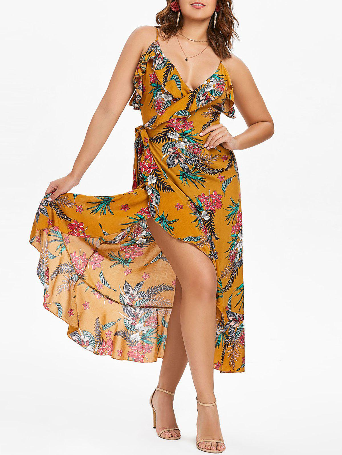 Best Ruffle Hemline Floral Print Wrap Dress