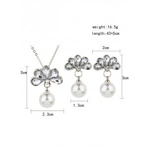 Floral Crystal Faux Pearl Decorative Pendant Necklace and Earrings -