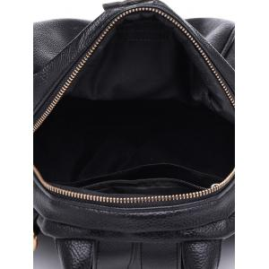 Faux Leather Chic Minimalist Backpack with Strap -