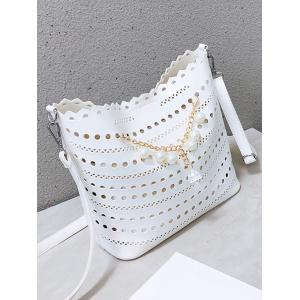 Hollow Out Scallop Rhinestone 2 Pieces Crossbody Bag Set -