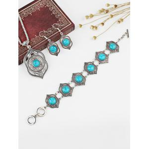 Hollow Out Faux Turquoise Carved Necklace Earrings Bracelet Set -
