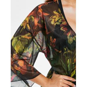 Tropical Floral Open Front Cover Up -