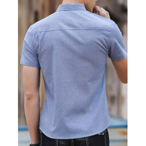 Chest Pocket Embroidery Letter Casual Shirt -
