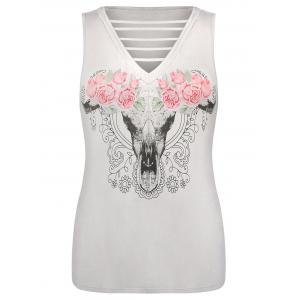 Plus Size Graphic Ladder V Neck Tank Top -