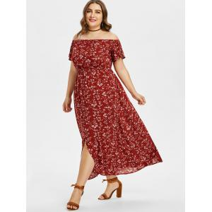 Plus Size Floral Off Shoulder Swing Dress -