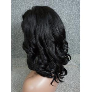 Medium Oblique Bang Wavy Human Hair Wig -
