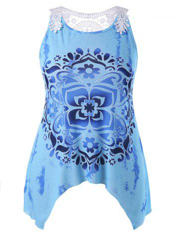 Plus Size Baroque Print Tie Dye Tank Top