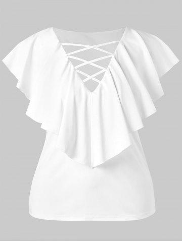 Women's Criss Cross Plus Size Ruffle Insert T-shirt