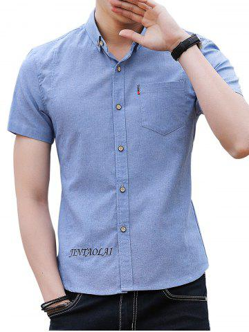 Best Chest Pocket Embroidery Letter Casual Shirt
