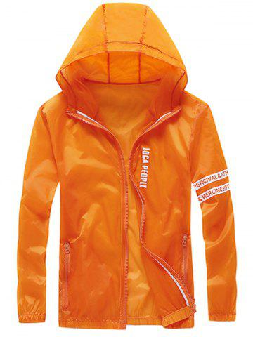 Discount Letter Print Zip Up Hooded Sunscreen Jacket