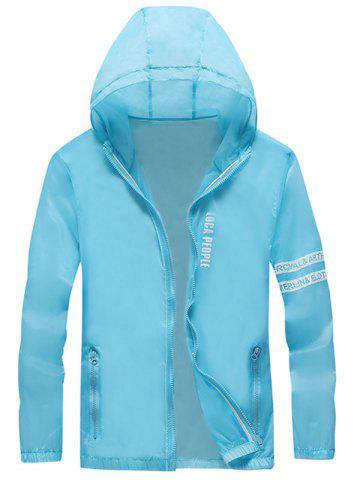 Unique Letter Print Zip Up Hooded Sunscreen Jacket