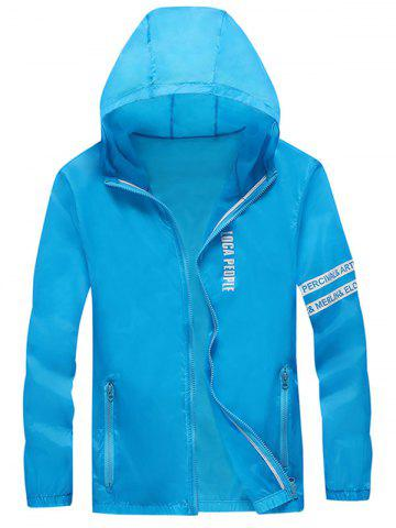 Online Letter Print Zip Up Hooded Sunscreen Jacket