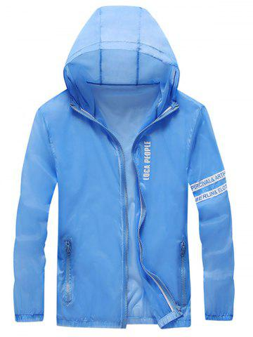 Outfit Letter Print Zip Up Hooded Sunscreen Jacket