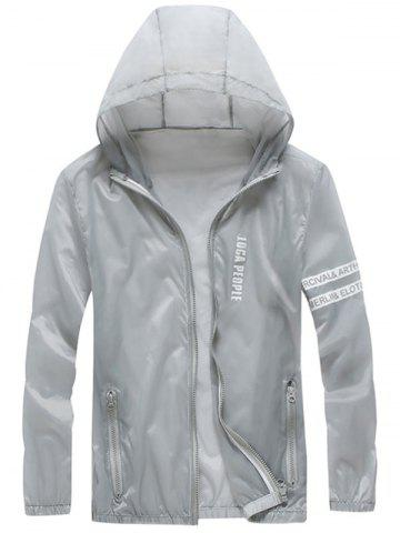 Trendy Letter Print Zip Up Hooded Sunscreen Jacket