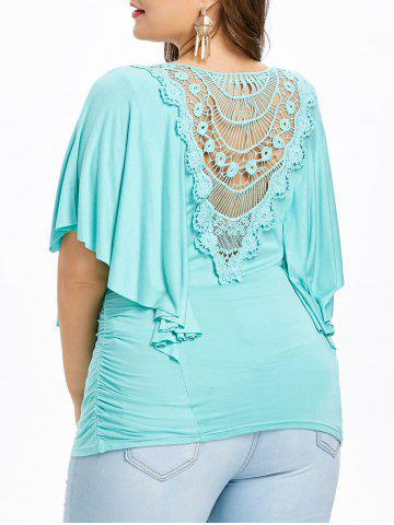 Cheap Plus Size Butterfly Sleeve Cutwork T-shirt