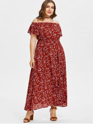 Trendy Plus Size Floral Off Shoulder Swing Dress