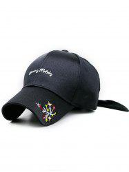 Floral Embroidery Long Band Baseball Hat -