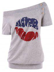 Skew Neck Buttoned American Flag Tee -
