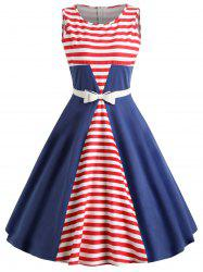 Retro Stripe Party Skater Dress -