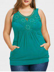 Plus Size Crochet Trim Kangaroo Pocket Tank Top -