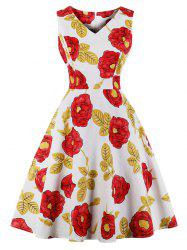 Vintage Floral Print Fit and Flare Dress -
