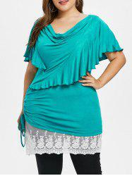 Plus Size Cowl Front Ruffle Bell Sleeve T-shirt -