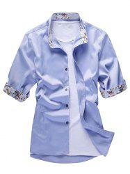 Flower Print Panel Button Up Shirt -