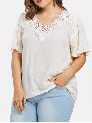 Plus Size Flutter Sleeve Lace Applique Blouse -
