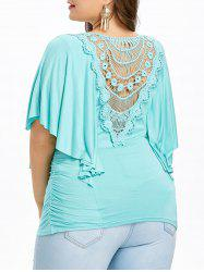 Plus Size Butterfly Sleeve Cutwork T-shirt -